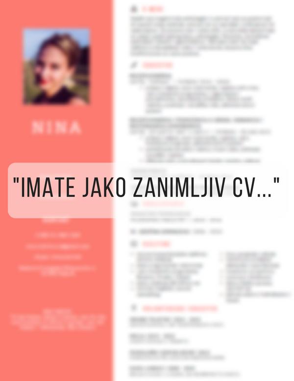 Imate jako zanimljiv CV